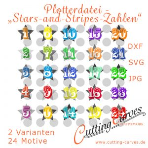 Plotterdatei Stars-and-Stripes-Zahlen